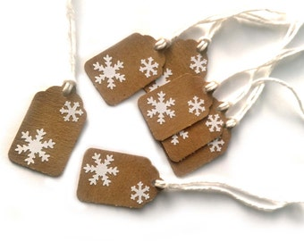 """20 Kraft Snowflake Christmas, Holiday Gift Tags 1  1/2"""" x 15/16"""" Made Using All Recycled and Repurposed Materials"""