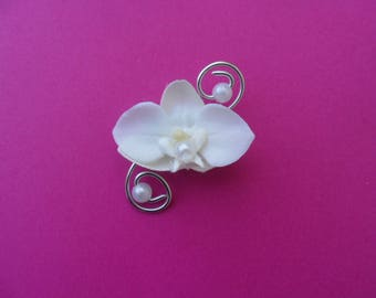 Boutonniere with white and silver - Orchid - brooch for wedding