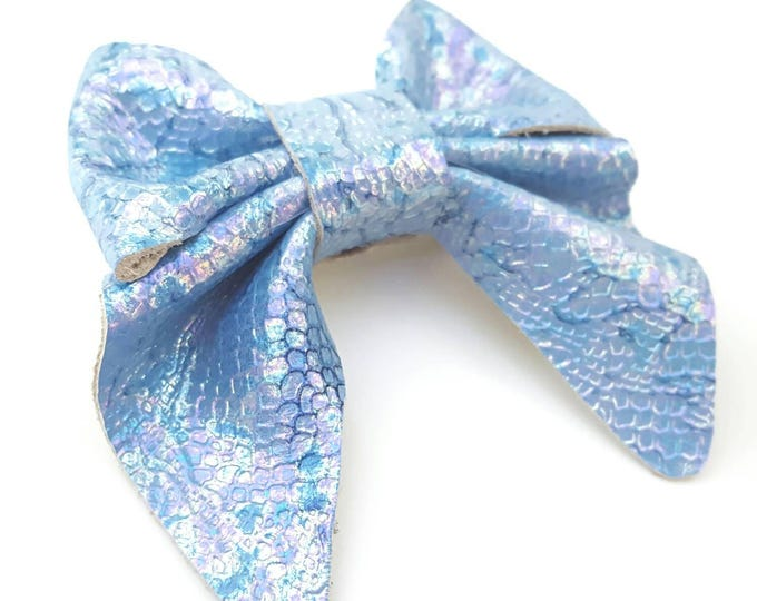 Mermaid Leather hair bow - baby bow - hair clips - classic girl - leather bow - gift for baby girl - hair accessories - girl bows - headband