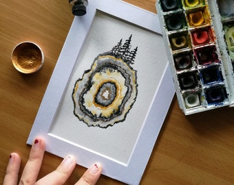 Geode Earth Original Watercolor Painting, Gold, Agate, Stone, Gem, Evergreen Trees, Planet Earth, Abstract Nature Art, Layers, Pine Trees