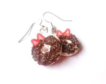 Chocolate Donut Earrings ( doughnut earrings miniature donut miniature food Polymer Clay donut jewelry food earrings strawberry donut )