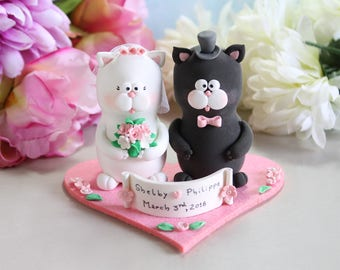 Unique Cat wedding cake toppers + felt base - bride groom figurines figures personalized funny cute black grey white pastel colors pink