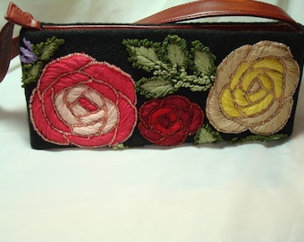 SANTI Black Handbag with Red and Yellow Embroidered Flowers Roses.
