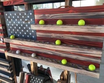 American Flag golf ball display