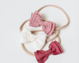 Headband Set- The Clover Set | Burgundy, Cream  and Blush Sweater Knit Dainty Bows