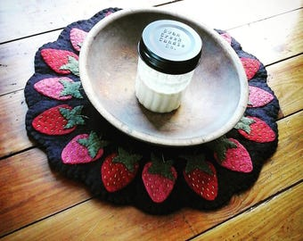 Strawberry spring summer penny rug centerpiece