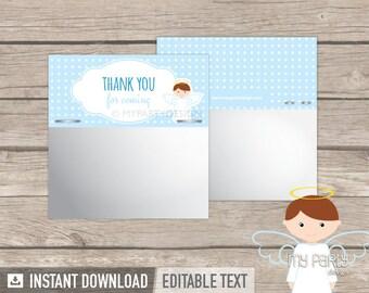 Baptism Favor Bag Topper - Label - Blue Angel Baptism Party - Christening - INSTANT DOWNLOAD - Printable PDF with Editable Text