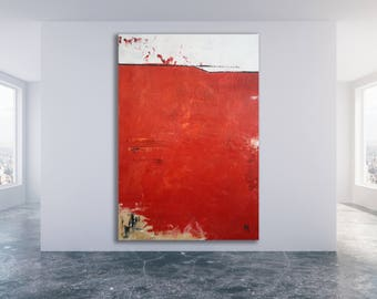 Extra Large Red Abstract Art / Red Modern Art / Bold Art / Large Red Painting / XL Red Abstract Art / Red Texture Painting
