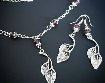 Rhodonite Garnet Faceted Briolette Silver Lily Necklace Pendant with Earrings. Beautiful Handmade Jewellery