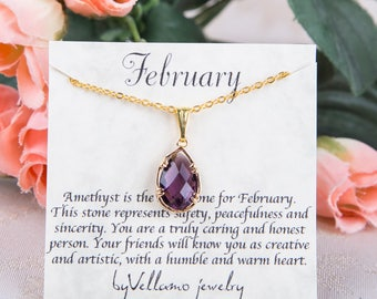 February Amethyst Birthstone, Gold Teardrop Necklace Purple Gold Necklace, February Birthstone Jewelry Personalised Bridesmaid Gold Necklace