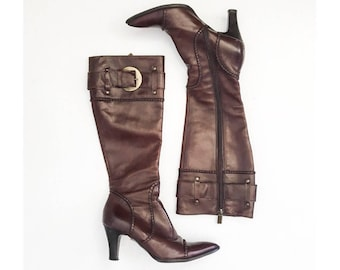 Vintage Boots / Brown Leather Boots / Tentazione Vero Cuoio Designer Boots / Tall Knee High Boots / Made in Italy Sz: 36 EURO 6 US 3.5 UK