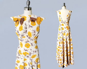 Rare 1930s Dress / 30s Cotton Maxi Gown / OPEN BACK / Mustard and Chocolate Floral Print!
