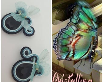 Soutache Earrings with organza butterflies
