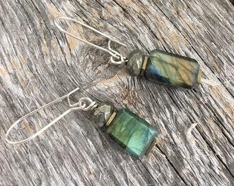 Labradorite and Pyrite Dangle Earrings