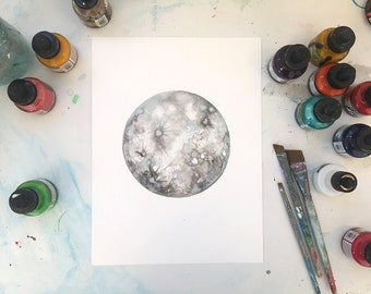 Iridescent Silver Moon Painting - Original Ink and watercolor