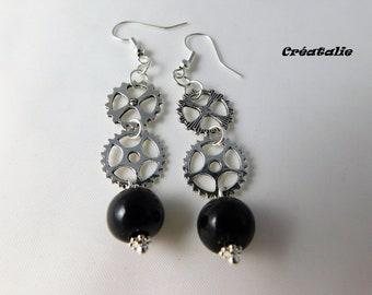 Gear steampunk polymer clay earring