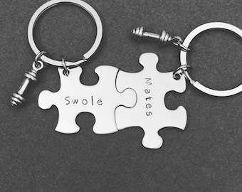 Swole mates keychains for couples, couples keychains, couples gift, puzzle piece keychain set, gym couple, fitness gift