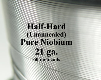 Pure Niobium Wire, 21 gauge (.029 inch diameter / .7366 mm, 21ga AWG) 5-foot (60-inch) coils, Natural, Unannealed (Half Hard) Free Ship