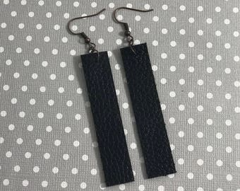 Leather Drop Earrings: Black // black leather// birthday gift// birthday present //