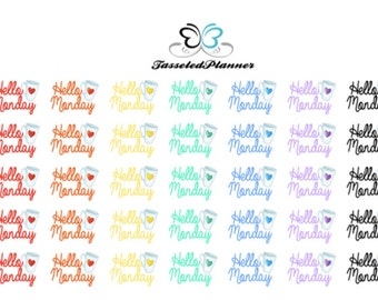 Hello Monday Planner Stickers/ Monday Planner Stickers/ Coffee Planner Stickers/Multicolored Hello Monday Planner Stickers
