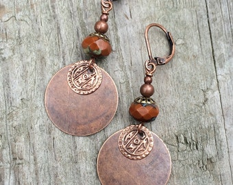 Boho earrings, bohemian earrings, boho dangle earrings, orange earrings, gypsy jewelry, bohemian jewelry, copper earrings, copper jewelry