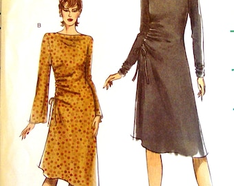 Very Easy Vogue 7960 Sewing Pattern A-Lined Dress Bateau Neckline Asymmetrical Dressy Casual Size 8 10 12  14 Bust 31 32 34 36 UNCUT