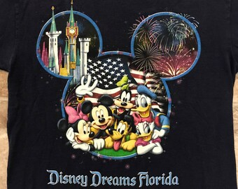 Vintage Disney Dreams Florida Mickey Mouse Blue T-Shirt Size S Disney Characters