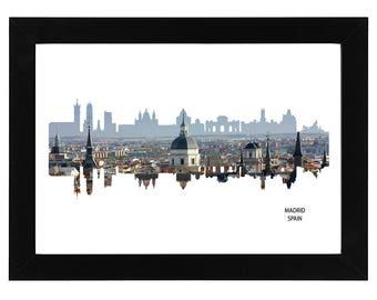 Madrid, Spain Skyline Print with aerial city photo