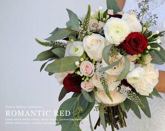 Burgundy Wedding Flowers, Blush Roses, White Roses, Seeded Eucalyptus, Bridal Bouquet