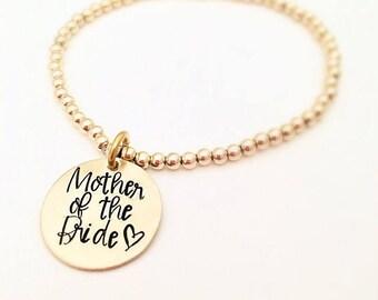 Gift for Mother of the Bride Bracelet - Gold Beaded Bracelet - Gift for Mom Wedding - Gold Wedding Gifts for mom - Gold Bead Bracelet