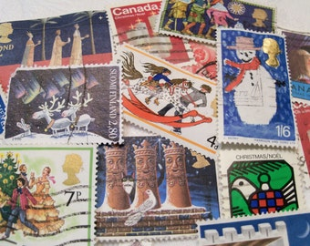 40 Christmas Postage Stamps, Postage Stamps, Vintage Stamps, Used Stamps, World Wide Stamps