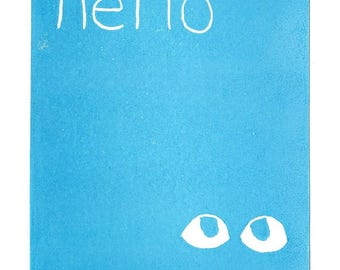 Hello Greeting Card SUPPORTS CHARITY 5x7 Handmade Linocut Artwork