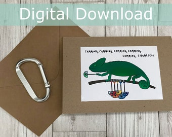 DIGITAL DOWNLOAD | Camming Chameleon | Greeting Card | Handmade | Climbing
