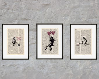 Prints - set of 3 - scampi heart - Antiquarian Book page