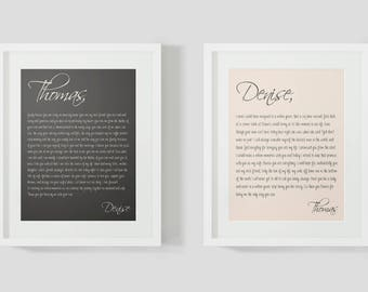 Custom wedding vows print gift for wife