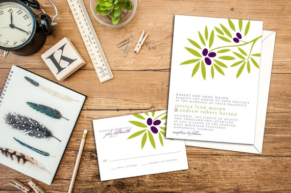 Garden Wedding Invitation Set, Olive Branch Wedding Invite, Wedding response cards, Thank you cards, Save the date, Outdoor Wedding Set