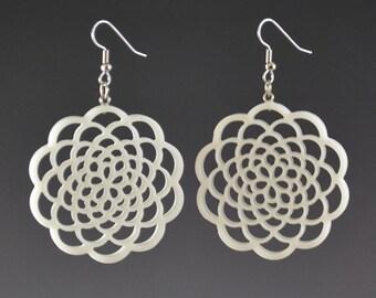 6 Layer Flower of Life Dangle Drop Earrings - Upcycled White Corian Sacred Geometry Mandala - Handmade Recycled Earrings