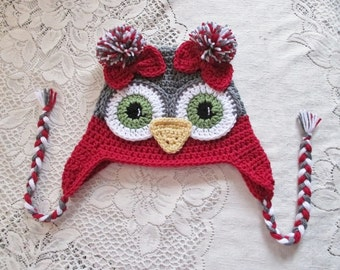 Dark Grey and Dark Red Owl Crochet Hat - Photo Prop - Available in Any Size or Color Combination