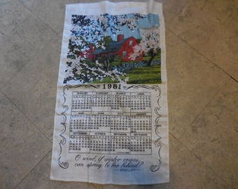 Vintage 1980s Calendar Tea Towel 1981 Linen 12 Month Wall Hanging Retro Barn Red House Country Home Like New