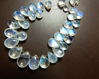 Rainbow Moonstone Beads Rainbow Moonstone Briolette Amooth Pear Drops27Pc - 48.8Ct  AAA High Quality Blue   100% Natural