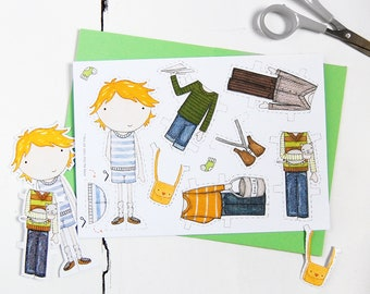 Colin Signature Outfits – Paper Doll Dress Up – Dress-up Doll Activity – Boy Character Activity – Creative Paper Activity - Paper Crafts