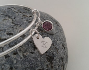 Sterling Silver Bracelet, Adjustable Sterling Silver Bangle, Swarovski Crystal Silver Bangle, Personalised Silver Heart Charm Bracelet.