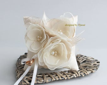 Ivory  Wedding pillow with 3 ivory flowers --ring bearer pillow, wedding rings pillow , wedding pillow, ready to ship