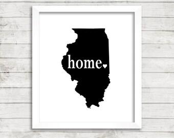 Illinois Home State Heart Print Custom Modern Illinois State Home Decor Wall Art Print. Minimalist Art.Unique. Black White Typography Print