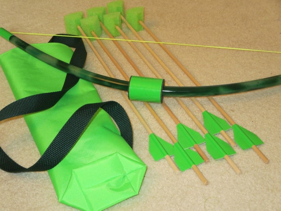Green Bow And Arrow, Kids Small Archery Set, Backyard Game, Outdoor Fun  Toy, Camping Activity, Pvc Bow With Quiver Bag, Toy Set