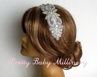 1920s Flapper Art Deco Bridal Headband - crystal bridal headband, headband rhinestone bridal hair accessories head piece, headpiece SWIRL