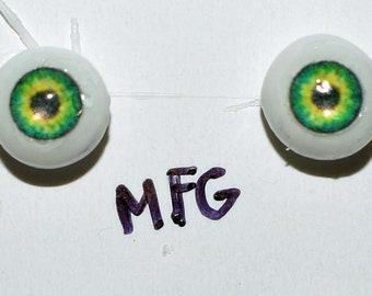 Hand Made Glass Like Eyes 5mm - Green Fairy MFG- for OOAK Art -Dolls
