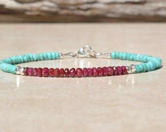 Ruby Bracelet, Sleeping Beauty Turquoise Bracelet, Birthstone Bracelets, December July Birthstone, Beaded Gemstone Bracelet, Gifts For Her