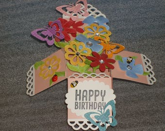 Birthday 3D Pop Up Box Card Flowers and Butterflies