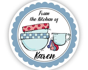 Kitchen Stickers - Blue, Red and Pink Doodle Cooking Bowls and Measuring Cup Personalized Baking Label Stickers - From the Kitchen of Labels